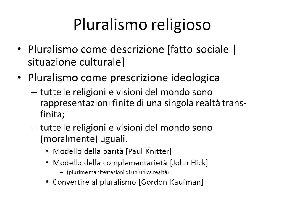 Pluralismo religioso Pluralismo come descrizione [fatto sociale | situazione culturale] Pluralismo come prescrizione ideologica.